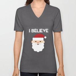 I Believe In Santa Claus Funny Christmas Unisex V-Neck