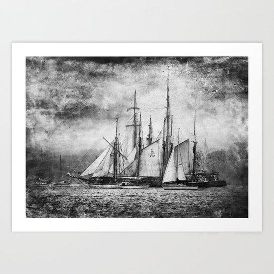 black and white ship Art Print