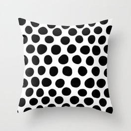 Black Hand Painted Spots on White Throw Pillow