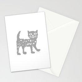 Gray cat pattern Stationery Cards