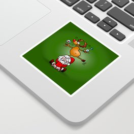 Reindeer is having a drink on Santa Claus Sticker