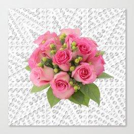 Pink Rose Silver Mandala Canvas Print