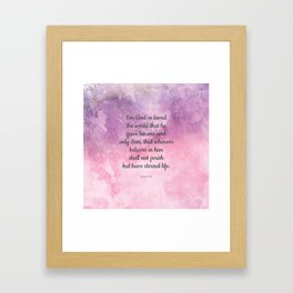 John 3:16, For God So Loved the World Scripture Framed Art Print