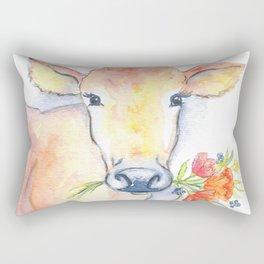 cow floral watercolor Rectangular Pillow