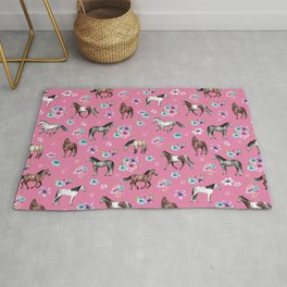 Pink Horse Print, Hand Drawn, Horses and Flowers, Girls Room, Rug