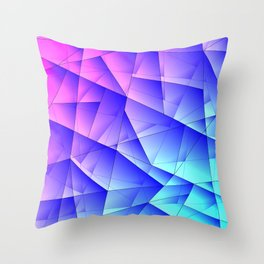 Bright fragments of crystals on irregularly shaped pink and blue triangles. Throw Pillow