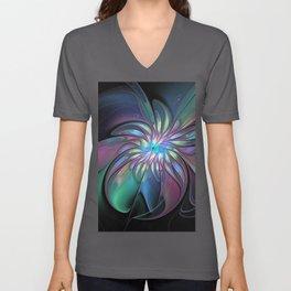 Abstract Fantasy, Colorful Fractals Art Flower Unisex V-Neck
