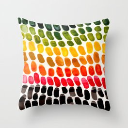 Colorful Watercolor Scales Aquatic Pattern Caribbean Colors Red Green Yellow Throw Pillow