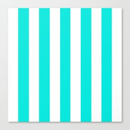 Bright turquoise - solid color - white vertical lines pattern Canvas Print