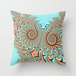 Owl Fractal Turquoise and Orange Throw Pillow