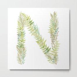 Initial N Metal Print