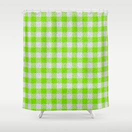 Lawn Green Buffalo Plaid Shower Curtain