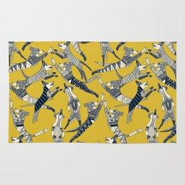 dog party indigo yellow Rug