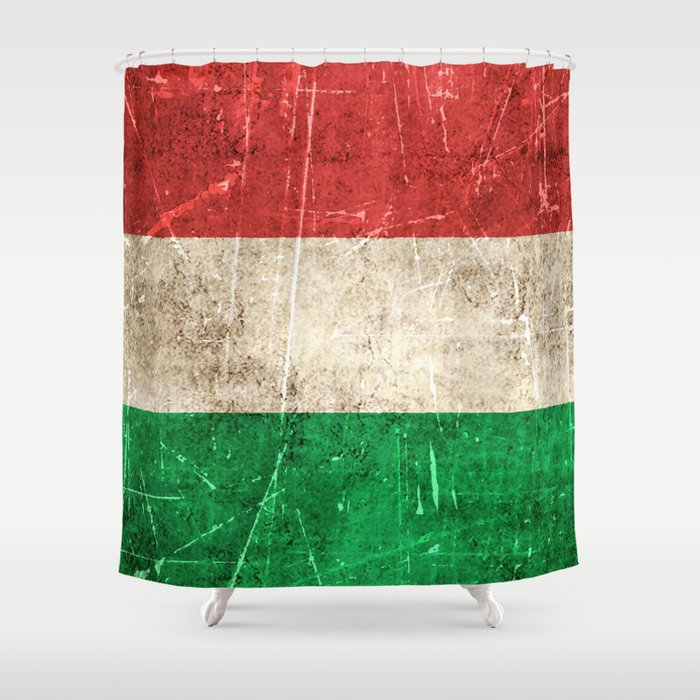 Vintage Aged and Scratched Hungarian Flag Shower Curtain