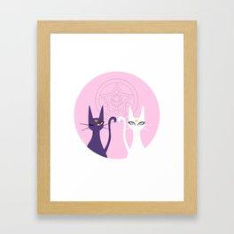 Lunar Cats - Pink Framed Art Print