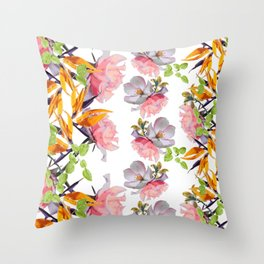 Lush Watercolor Florals Throw Pillow