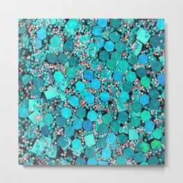 AQUA TEAL HEXAGON CONFETTI Metal Print