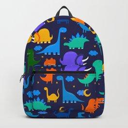Dinosaurs At Night Blue Orange Green Dinosaur Kids Pattern Backpack