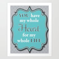 Love Collection-You Have My Whole Heart For My Whole Life (Ocean/Grey/Quatrefoil) Art Print