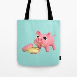 Rosa the Pig eating Donuts Tote Bag