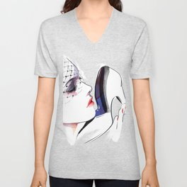 Woman holding shoes, Fashion Beauty, Fashion Painting, Fashion IIlustration, Vogue Portrait, #16 Unisex V-Neck
