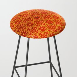 N67 - Yellow & Red Vintage Antique Geometric Traditional Moroccan Style. Bar Stool