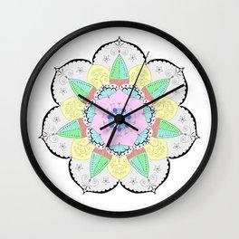 Mandala Art Flower Design Patterns Boho Pastel Wall Clock