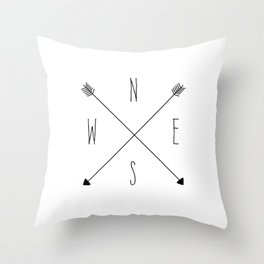 Compass - North South East West - White Throw Pillow