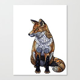 Stained Glass Fox Canvas Print