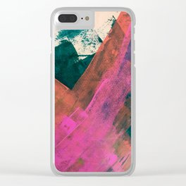 Expand [2]: a colorful, minimal abstract piece in pinks, green, and blue Clear iPhone Case