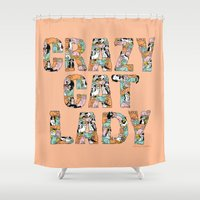 gemma Shower Curtains featuring Crazy Cat Lady by gemma correll