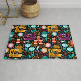 Garden of Sewing Supplies - Black Rug