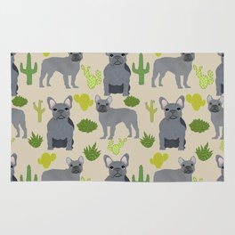 Frenchie french bulldog grey cactus desert southwest dog breed by pet friendly Rug