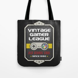 Geeky Gamer Chic Classic Vintage Gaming SNES Inspired Vintage Gamer League Old School Cool Tote Bag