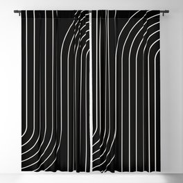 Minimal Line Curvature - Black and White II Blackout Curtain