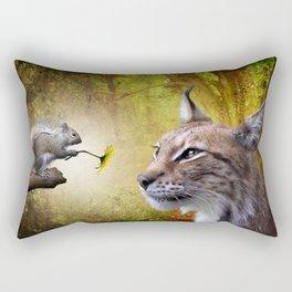 Canadian Lnx and Squirrel Rectangular Pillow