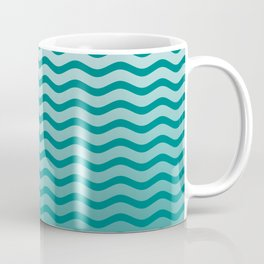 Teal and White Faded Chevron Wave Coffee Mug