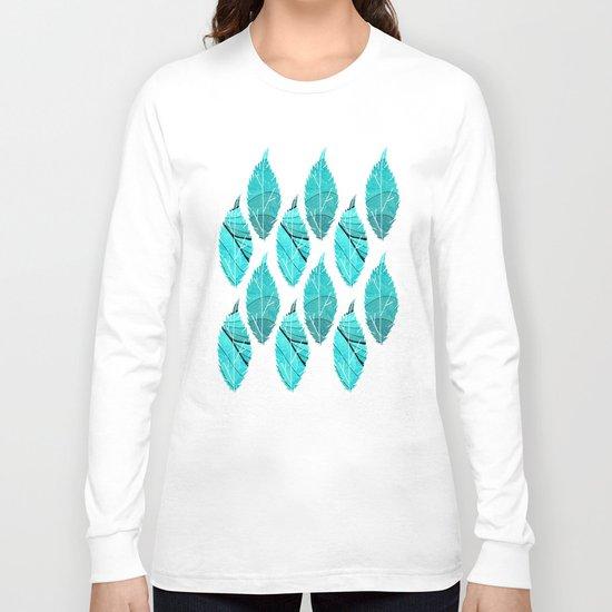 Blue Leaves Long Sleeve T-shirt