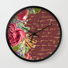 Elegant Christmas - burgundy rose Wall Clock