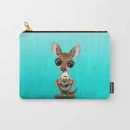 Cute Baby Kangaroo With Football Soccer Ball Carry-All Pouch