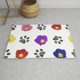 Primulaceae Colorful Flowers and Hand Drawn Paw Print Pattern Rug