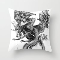 tomb raider Throw Pillows featuring Raider by Rosanna P. Brost