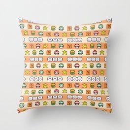 Pixel Game Retro (Orange) Throw Pillow