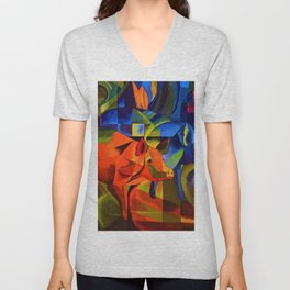 The Pigs by Franz Marc Unisex V-Neck