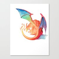 charizard Canvas Prints featuring Charizard by Natalie Huber