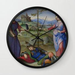 """Raffaello Sanzio da Urbino """"Vision of a Knight (The Dream of Scipio or Allegory)"""", circa 1504-1505 Wall Clock"""