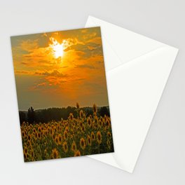 Field of Sunflowers at Sunset Stationery Cards