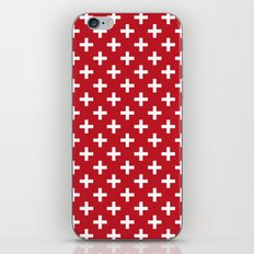 Criss Cross | Plus Sign | Red and White iPhone & iPod Skin