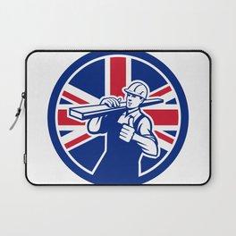 British Lumberyard Worker Union Jack Flag Icon Laptop Sleeve