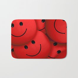 Red Smileys Bath Mat